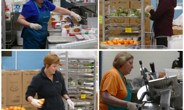 Collaboration between the school district and local charitable organizations allows continued food services to students and families in need.