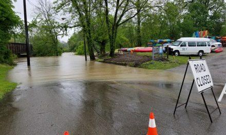 Loveland Canoe & Kayak flooded by rain-swollen Little Miami River