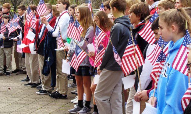 St. Columban students honored veteran's in Loveland Veteran's Memorial Park on Veteran's Day
